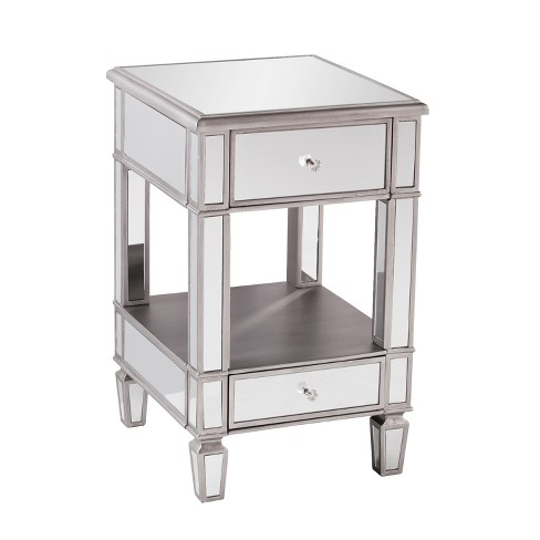 Aiden Lane Warakin Mirrored Side Table Brushed Matte Silver With Mirror