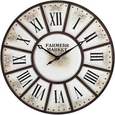 "River Parks Studio Farmers Market 39 1/4"" Wide Rustic Metal Wall Clock"