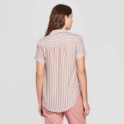 a94dcea8244 Women s Striped Short Sleeve Button-Down Shirt - A New Day™ Brown ...