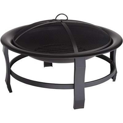 "John Timberland Black Outdoor Fire Pit Round 30"" Steel Wood Burning with Spark Screen and Fire Poker for Outside Backyard Patio Camping"