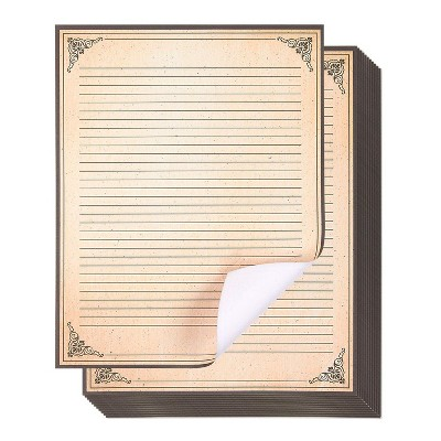 "48-Pack Vintage Stationery Paper, Antique Style, Perfect for Writing Poems, Lyrics and Letters, 8.5"" x 11"""