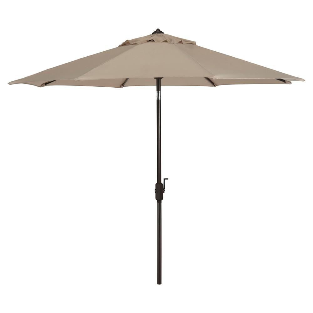 Ortega 9' Crank Umbrella - Beige - Safavieh