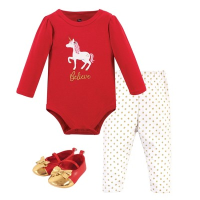 Hudson Baby Infant Girl Cotton Bodysuit, Pant and Shoe 3pc Set, Christmas Unicorn