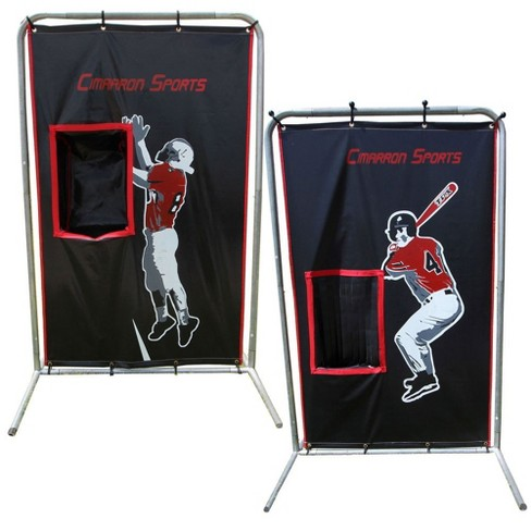 Cimarron Sports 2 Sport Training Aid Football Baseball Softball 75 X 48 Inch Catcher Vinyl Backstop Target Net And Frame Target