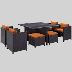 Inverse 9pc Outdoor Patio Dining Set - Espresso Orange - Modway