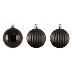 "Northlight 100ct Shatterproof 3-Finish Christmas Ball Ornaments 2.5"" - Black"