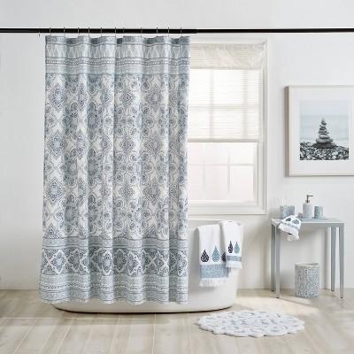 "72""x72"" Capri Medallion Shower Curtain Blue - Destinations"