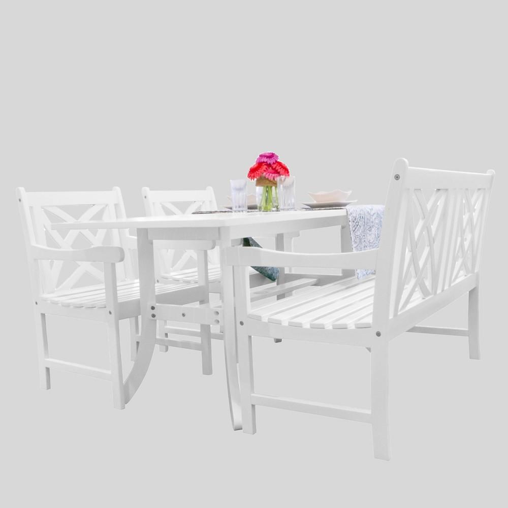 Image of 4pc Magnolia Wood Dining Set White - Vifah