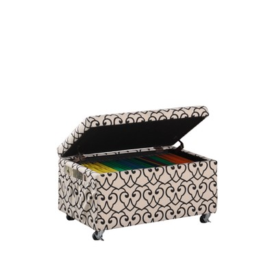 Ore International Storage Bench with Caster Wheels/Side Pockets