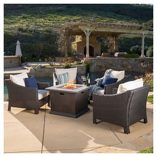 Antibes 5pc Wicker Chair and MGO Gas Fire Pit Set  - Dark Brown - Christopher Knight Home
