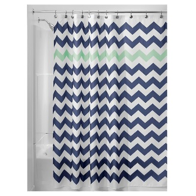 Chevron Polyester Shower Curtain Navy/Mint - iDESIGN