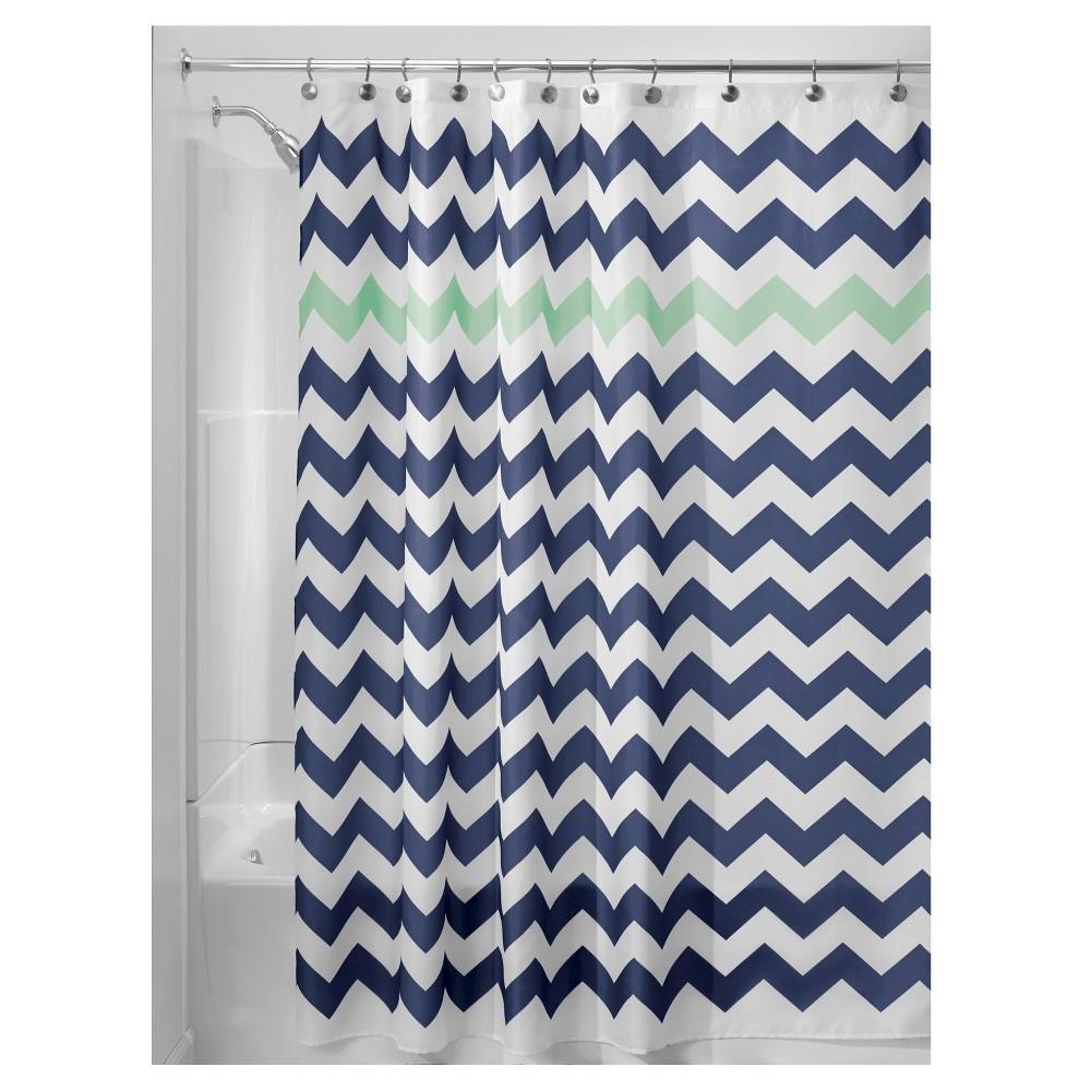 "Image of ""Shower Curtain Interdesign Chevron Navy Mint, Size: 72"""" x 72"""", Blue/Turquoise"""