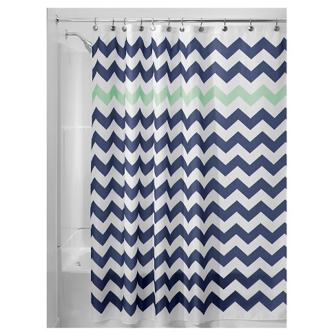 Chevron Polyester Shower Curtain - iDESIGN - image 1 of 4