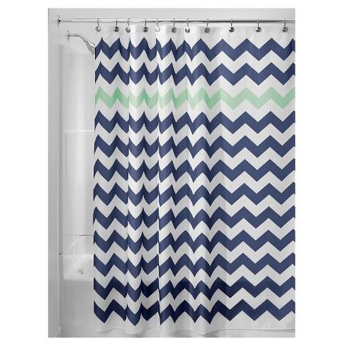 Shower Curtain Interdesign Chevron Navy Mint Target