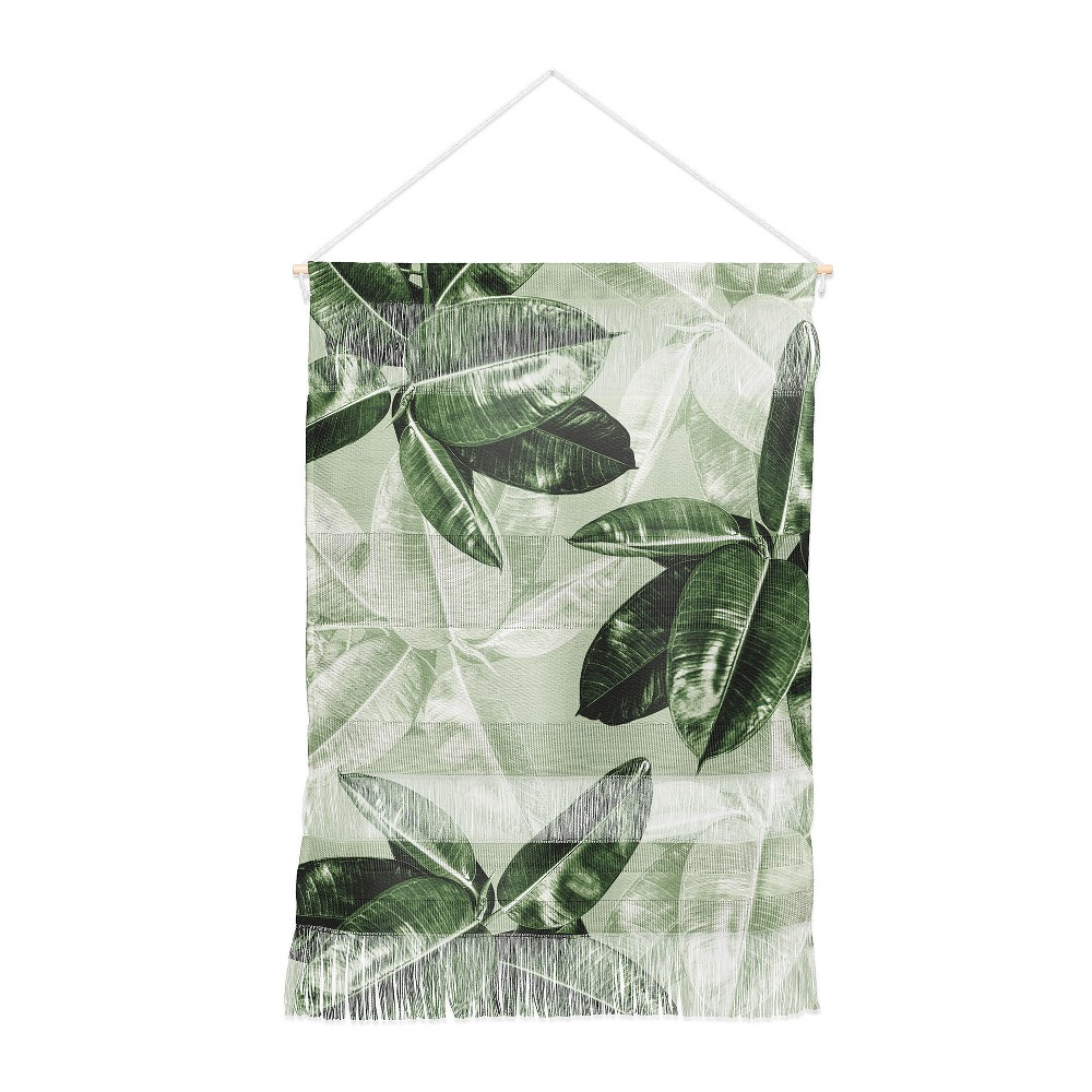 22x31.5 Magda Opoka Green Tropical Leaves Wall Hanging Portrait Green - Deny Designs