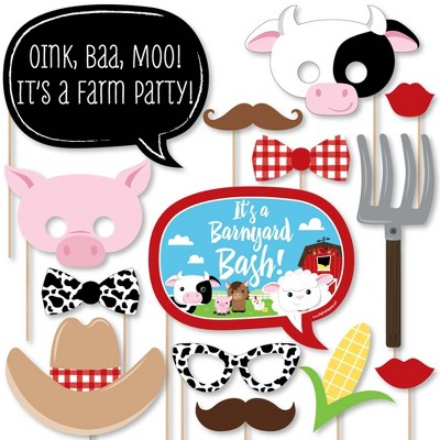 Big Dot of Happiness Farm Animals - Baby Shower or Birthday Photo Booth Props Kit - 20 Count