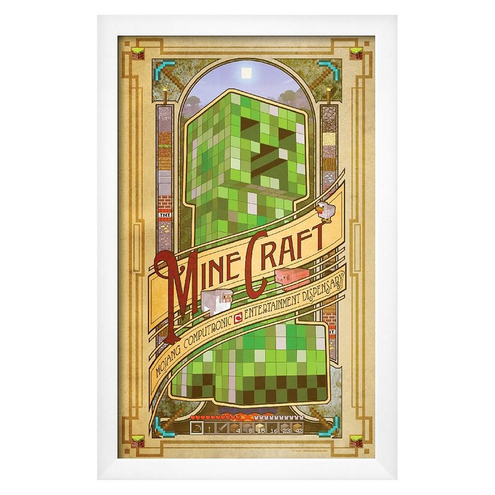Art.com Minecraft Computronic Premium Framed Poster, Green With White Frame