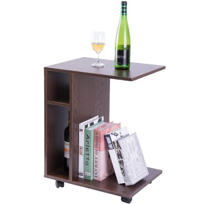 Basicwise Modern Sofa Side Table with Shelves and Casters, Brown