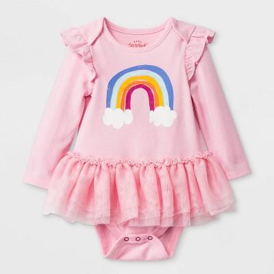 Baby Girls' Solid Tulle Tutu Bodysuit - Cat & Jack™ Pink 6-9M