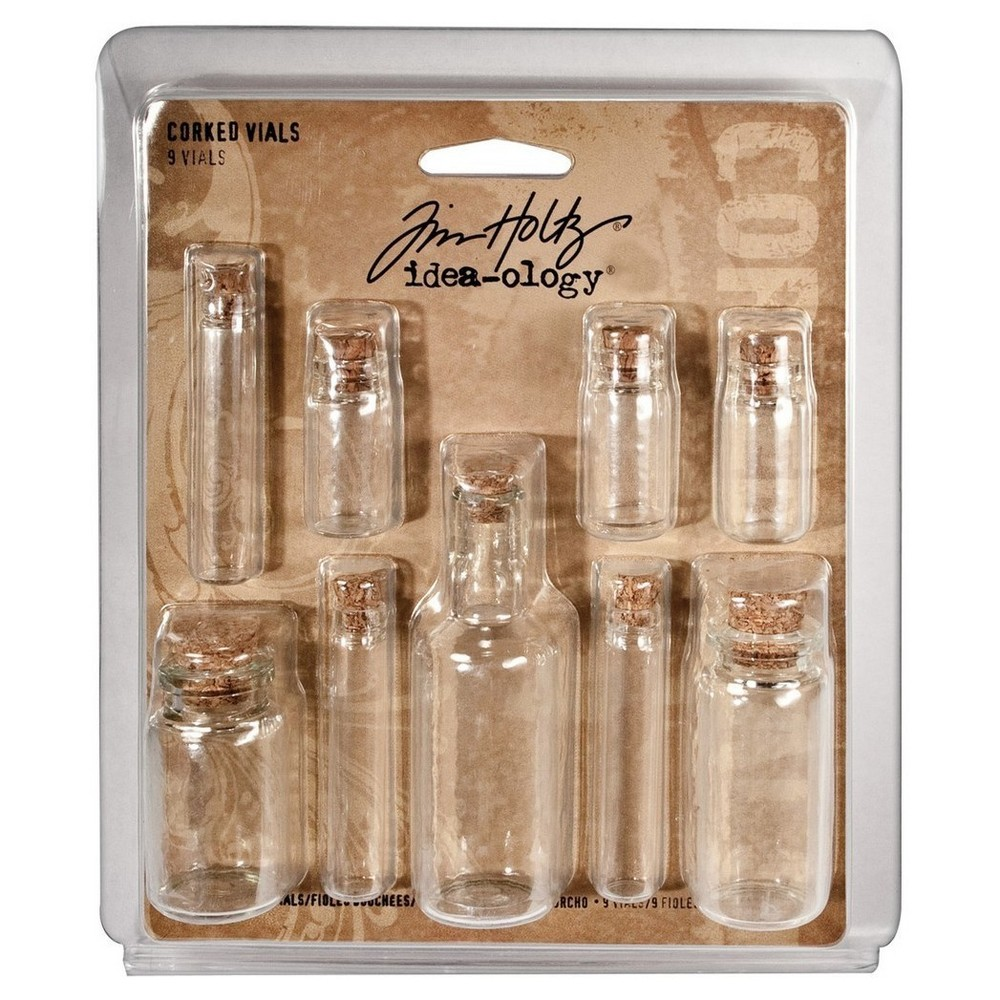 Tim Holtz Corked Glass Vials-Clear 1.25 To 3, Clear