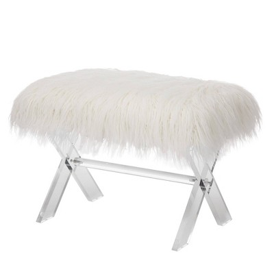 """26"""" Faux Fur Upholstered Bench with Acrylic X Leg White - Glitzhome"""
