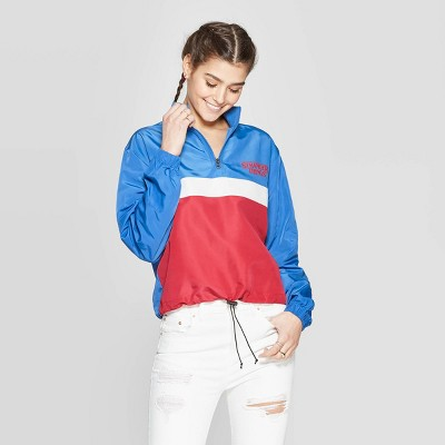 Women's Stranger Things Logo Long Sleeve Colored 1/2 Zip Windbreaker T Shirt (Juniors')   Blue by Shirt (Juniors')