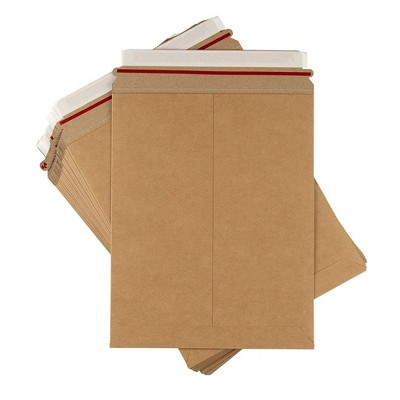 """Juvale Rigid Mailers - 25-Pack Stay Flat Photo Document Mailers, Self-Seal Cardboard Envelope Mailers for Photos, Pictures, Kraft Brown, 9x11.5"""""""
