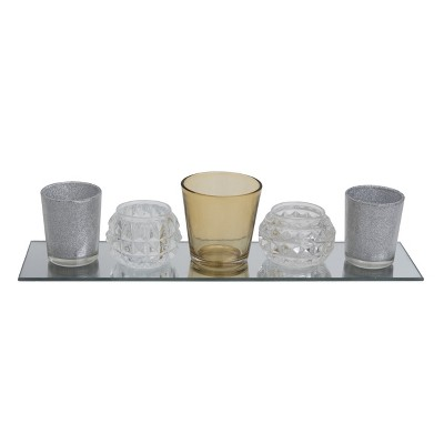 Transpac Glass 15 in. Multicolor Christmas Candle Holder Set of 5 with Tray