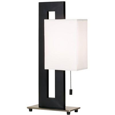360 Lighting Modern Accent Table Lamp Black Metal Open Rectangular White Floating Box Shade for Living Room Family Bedroom Bedside