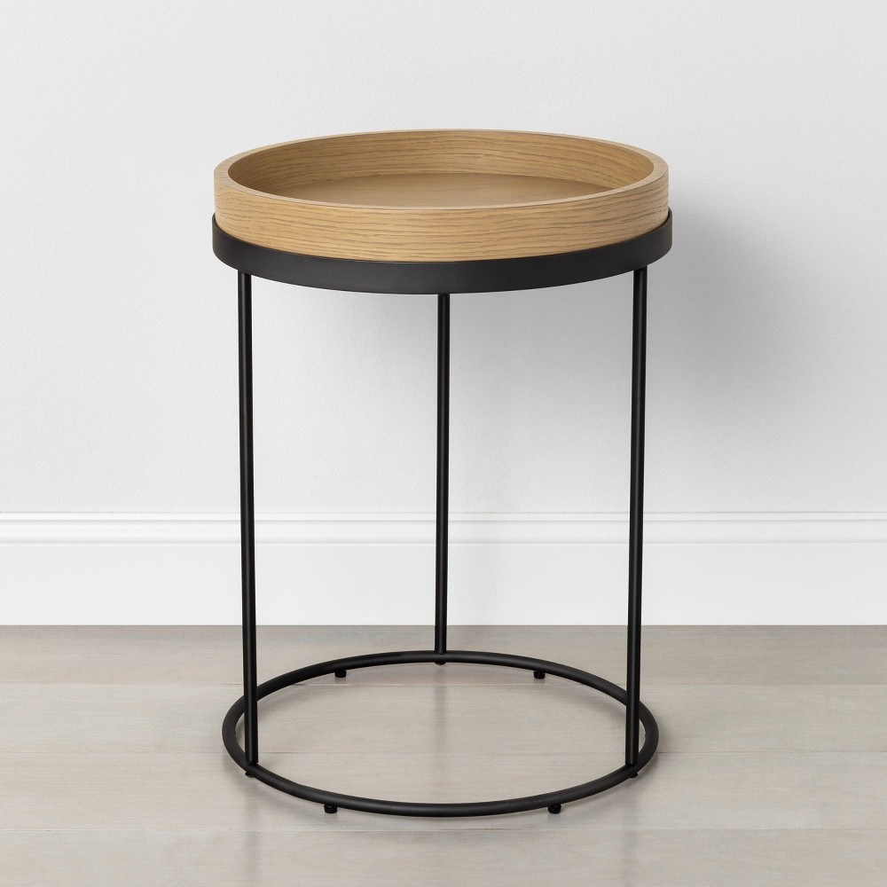 Image of Metal & Wood Accent Table Black - Hearth & Hand with Magnolia