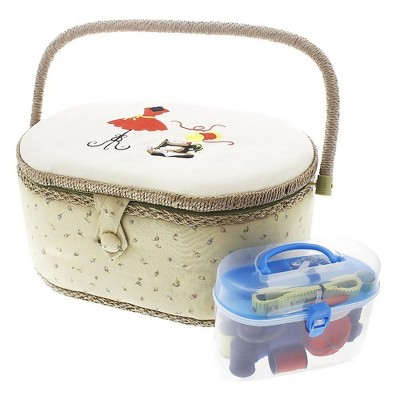 Juvale Vintage Sewing Basket Organizer with Sewing Kit Accessories, Oval Shaped (13 x 9 x 6 Inches)