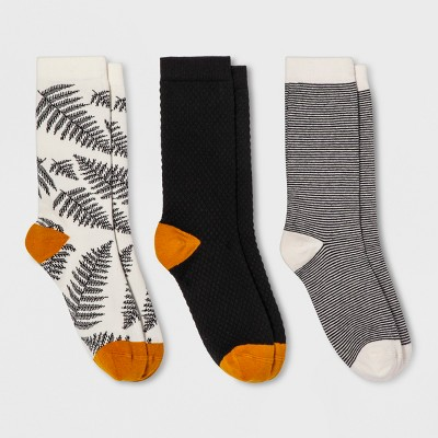Women's Fern 3pk Crew Socks - A New Day™ Black One Size