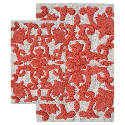 Iron Gate 2 - Pc. Bath Rug Set Living Coral & White - Chesapeake Merch Inc.®