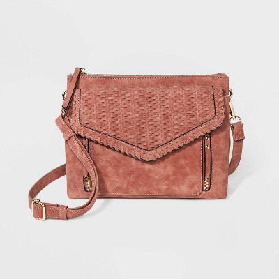 VR NYC Magnetic Flap Closure Woven Crossbody Bag - Clay