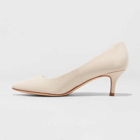 3cbc84f2d23 Women's Dora Faux Leather Patent Kitten Pointed Toe Pump Heel - A New Day™  Taupe 12