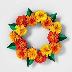 Da de Muertos Marigold Felt Decorative Wreath