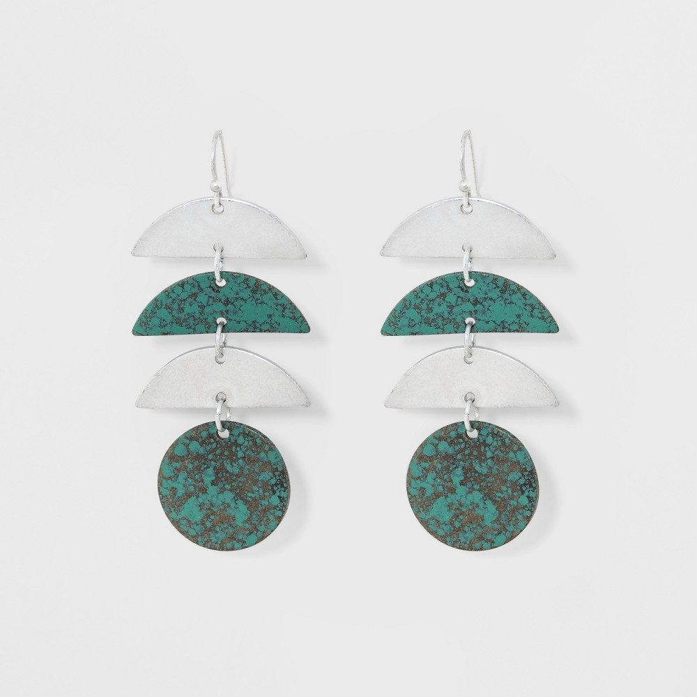 Geometric Patina Drop Earrings - Universal Thread Medium Silver