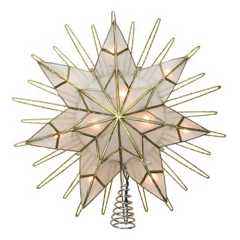 """Kurt S. Adler 14"""" Lighted Capiz Sunburst 7-Point Star Christmas Tree Topper - Clear Lights - image 1 of 3"""