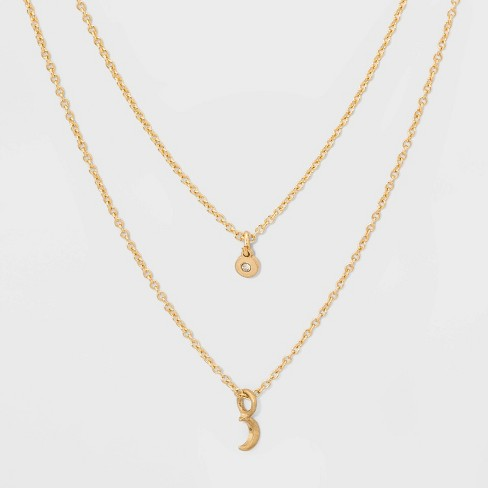 Two Rows and Moon Short Necklace - Gold - image 1 of 3