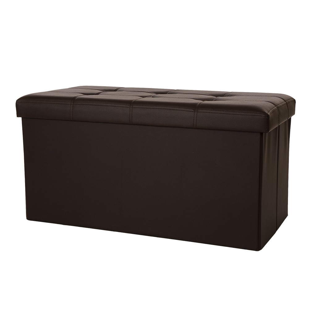 Tufted PVC Cube Foldable Storage Bench - Coffee (Brown) - Glitzhome