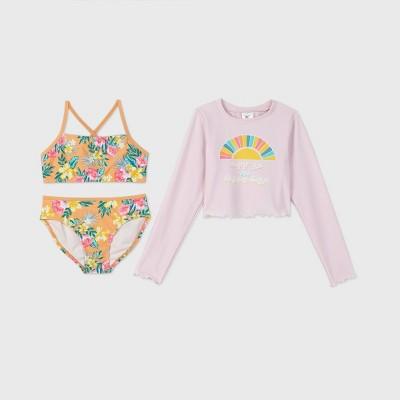 Girls' Long Sleeve Happy Days 3pc Rash Guard Swim Suit Set - art class™