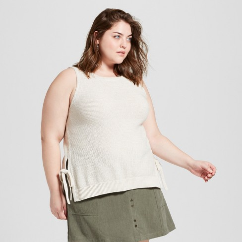 Women's Plus Size Side Tie Sweater Tank Top - Universal Thread™ Oatmeal - image 1 of 3