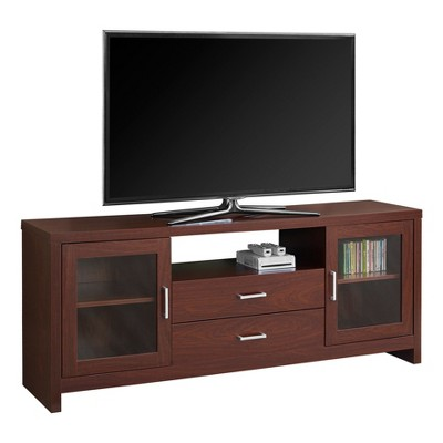 TV Stand with Glass Doors - Warm Cherry - EveryRoom