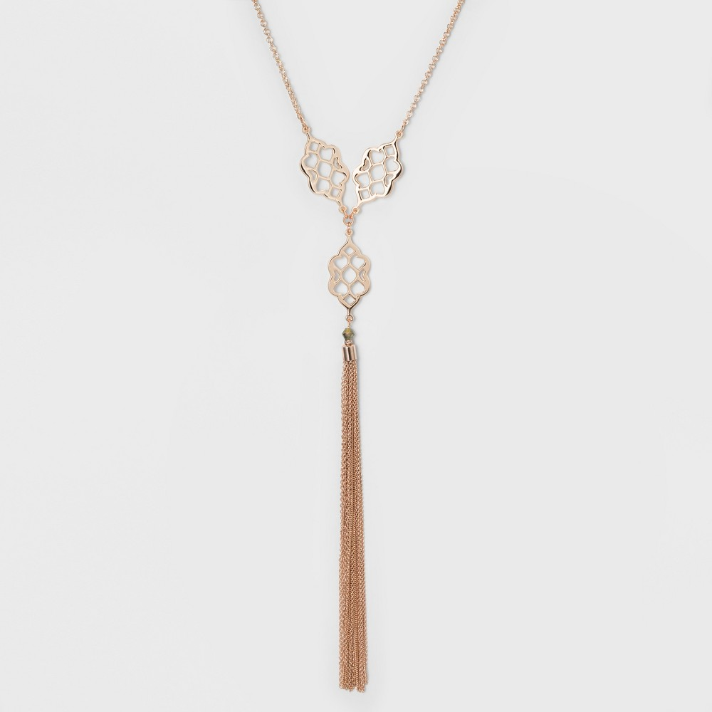 Three Castings and Tassel Long Y Necklace - A New Day Rose Gold
