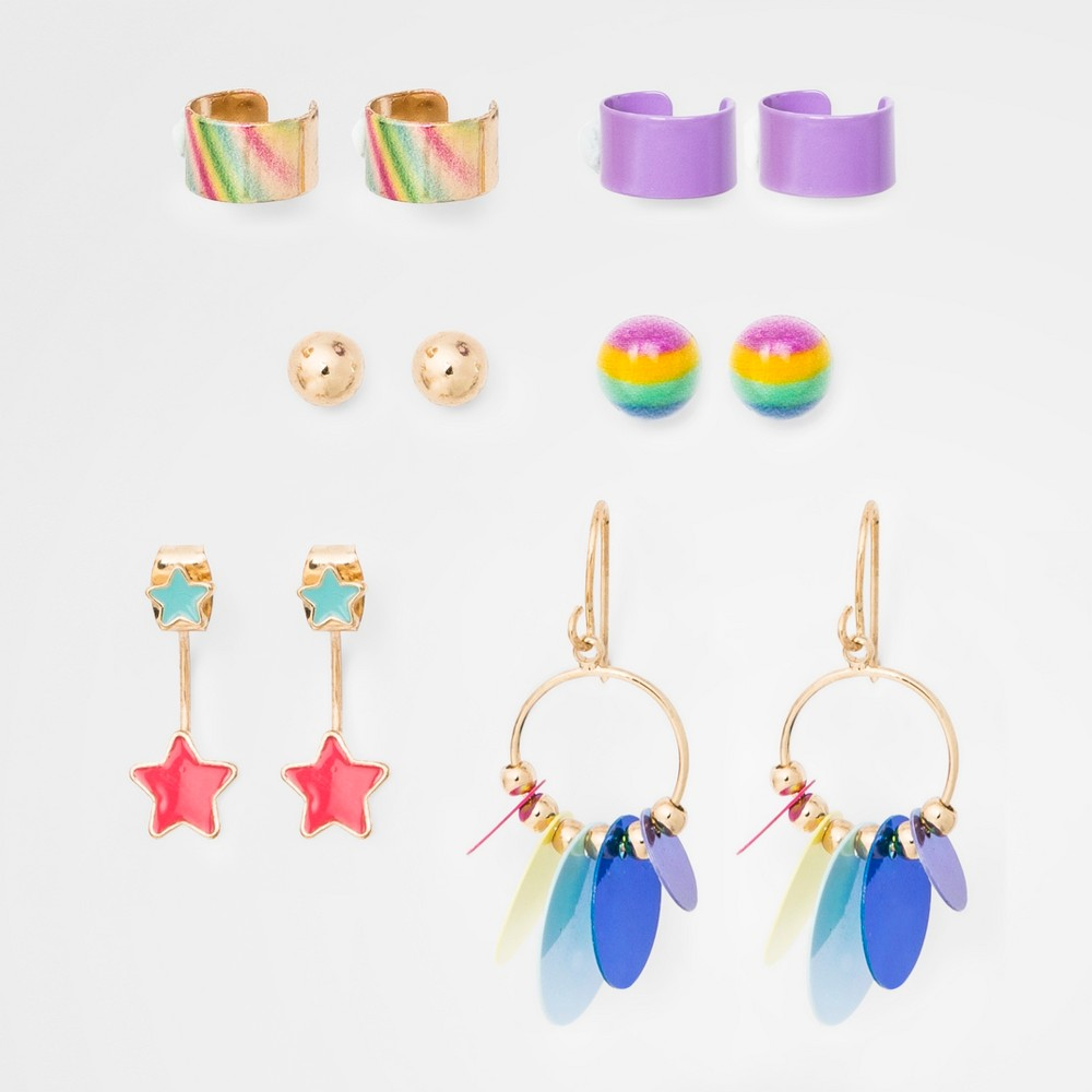Girls' Rainbow Star Sequin Earrings - Cat & Jack One Size, Multi-Colored