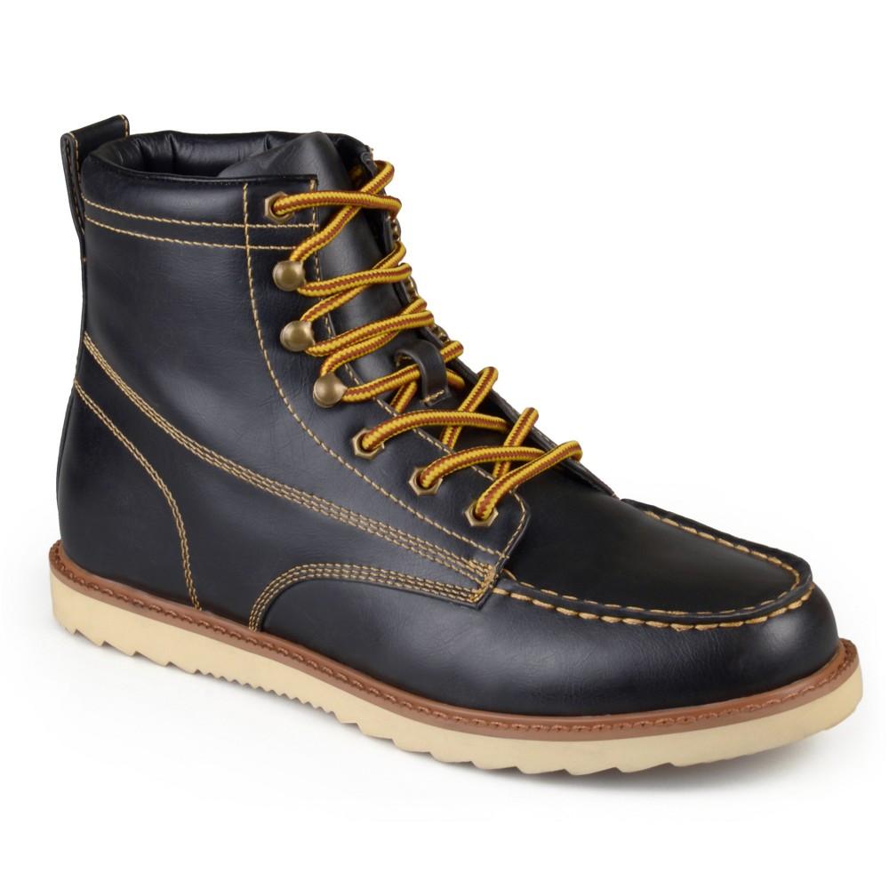 Men's Vance Co. Wyatt Faux Leather Lace-up Moc Toe Work Boots - Black 9.5