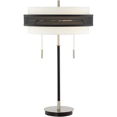 Possini Euro Design Modern Table Lamp Chrome and Black Metal Slim White Fabric Double Drum Shade for Living Room Family Bedroom