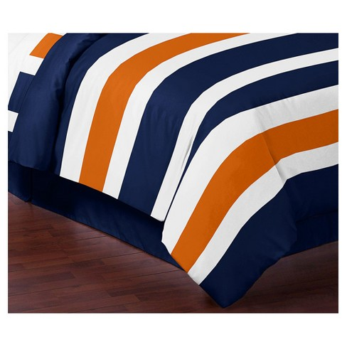 Navy Orange Stripe Comforter Set Full Queen Sweet Jojo Designs Target