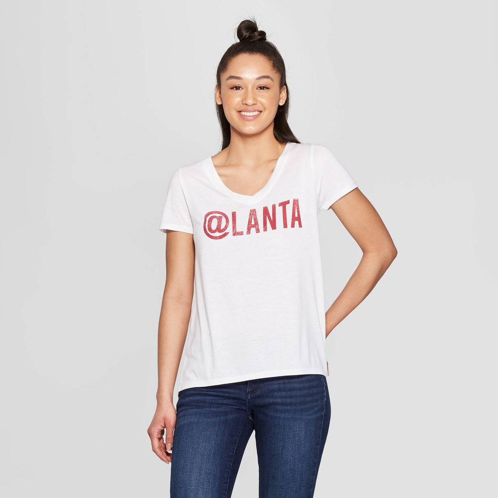 Women's Casual Fit Short Sleeve V-Neck Atlanta Graphic T-Shirt - Modern Lux White M