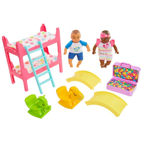 """Honestly Cute Bunk Bed Playroom with 8"""" Caucasian & Latina Dolls - image 1 of 4"""